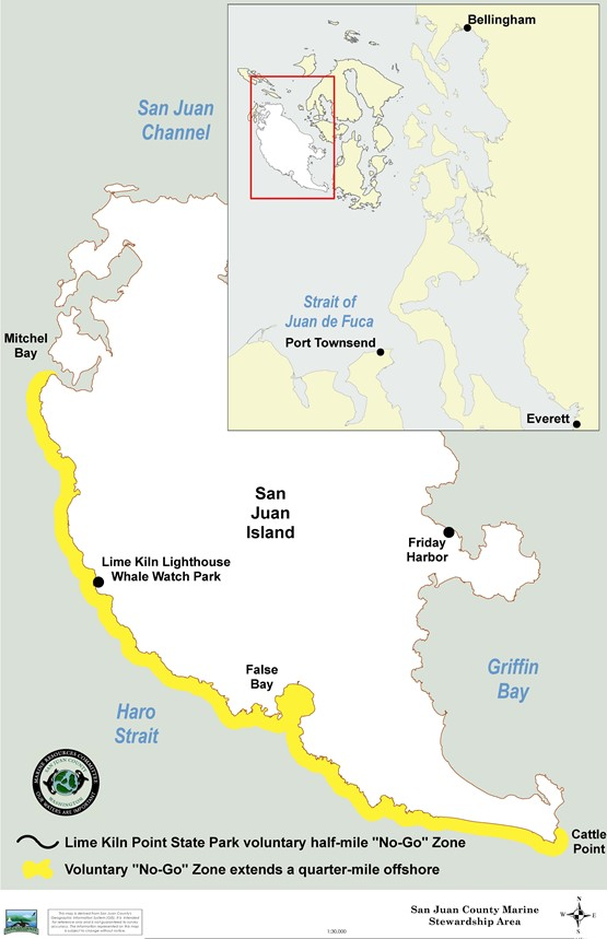 San Juan Island West Side Voluntary No-Boat Zone Map graphic